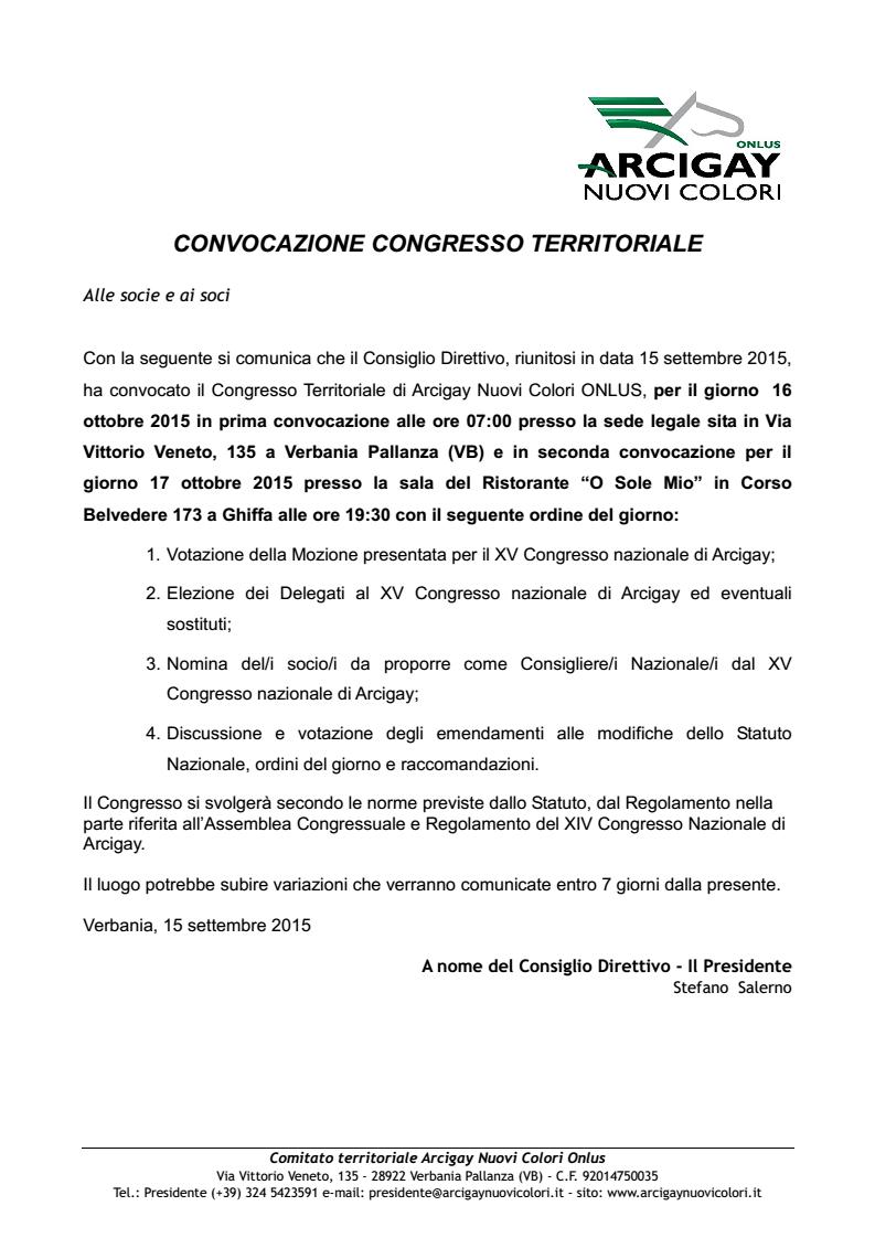 CONVOCAZIONE CONGRESSO TERRITORIALE